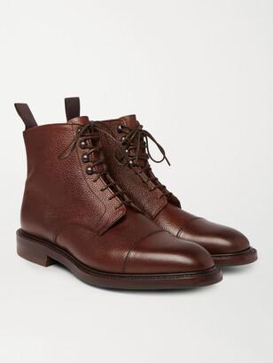 Kingsman + George Cleverley Cap-Toe Pebble-Grain Leather Boots