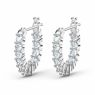 Swarovski Women's Vittore Collection Hoop Earrings Set of Brilliant White Crystal Hoop Earrings with Rhodium Plating