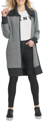 DKNY Long Sleeve Open Front Cardigan Charcoal XS-S