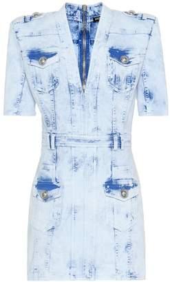 Balmain Embellished denim minidress