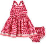 Kate Spade Cross-Back Floral Tile Dress w/ Bloomers, Multicolor, Size 12-24 Months