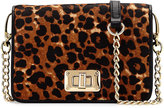 Neiman Marcus Leopard-Print Calf Hair Crossbody Bag, Natural/Black
