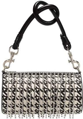 Area crystal embellished houndstooth shoulder bag