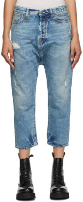 R 13 Blue Tailored Drop Jeans