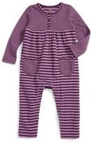 Tea Collection Ponpon Stripe Henley Romper (Baby Girls)