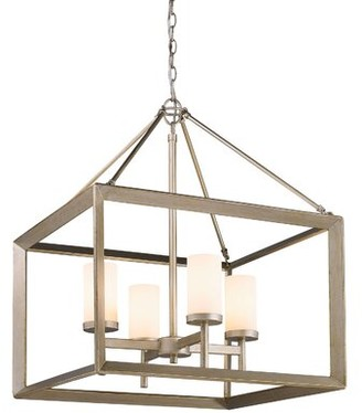 Three Posts Thorne 4 - Light Lantern Rectangle Chandelier Shade Color: White Glass, Finish: Gunmetal Bronze