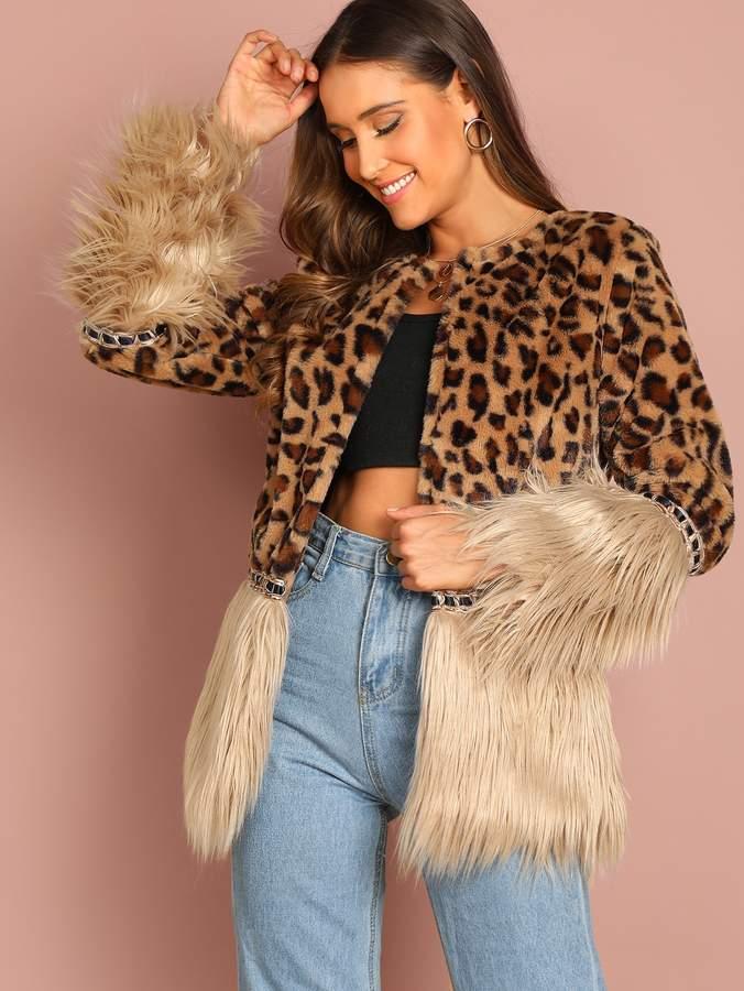 3f57e67675 Contrast Faux Fur Leopard Coat
