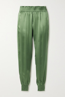 CAMI NYC The Selbie Silk-charmeuse Tapered Track Pants - Leaf green