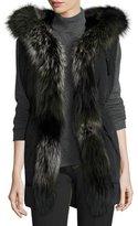 Derek Lam Fur-Trimmed Hooded Vest, Black