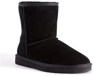 Aus Wooli Ugg Mid Calf Zip-Up Sheepskin Boot - Black Black
