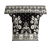 Alexander McQueen Floral-jacquard off-the-shoulder knit cropped top