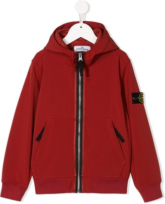 Stone Island Junior Compass-Patch Zip-Up Hoodie