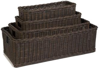 The Basket Lady Long Low Wicker Basket, Antique Walnut Brown, Large