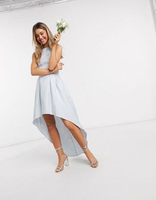 Chi Chi London Chi Chi Bridesmaid Steffie high low dress in light blue