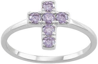 Silver Cross FINE JEWELRY Girls Blue Cubic Zirconia Sterling Pendant Necklace