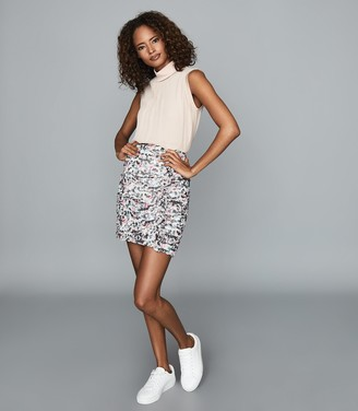 Reiss LUCIELLE FLORAL PRINT RUCHED MINI SKIRT Ivory