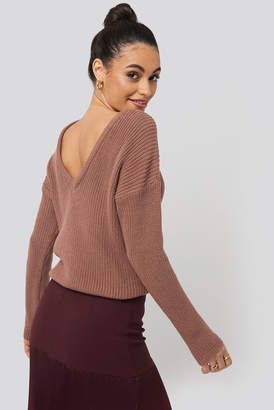 NA-KD Knitted Deep V-neck Sweater Beige