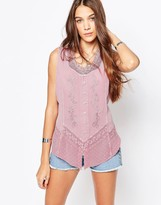 Brave Soul Denim Wash Sleeveless Shirt With Embroidered Detail
