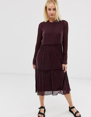 Minimum Moves by sheer midi dress-Brown