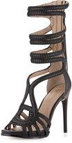 BCBGMAXAZRIA Elen Braided Leather Sandal, Black