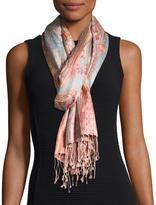 Sabira Sharab Paisley Silk Scarf, Pink