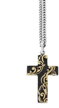 King Baby Studio New Classics Goldtone Scroll Cross Pendant Necklace