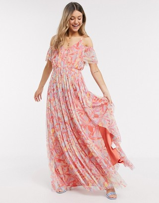 Anaya With Love cold shoulder all over floral printed pleat maxi dress in multi print