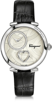 Salvatore Ferragamo Cuore Stainless Steel Women's Watch w/Black Croco Embossed Strap