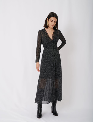 Maje Flocked velvet polka dot jacquard dress