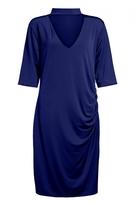 Quiz Curve Navy Choker Neck Ruched Midi Dress