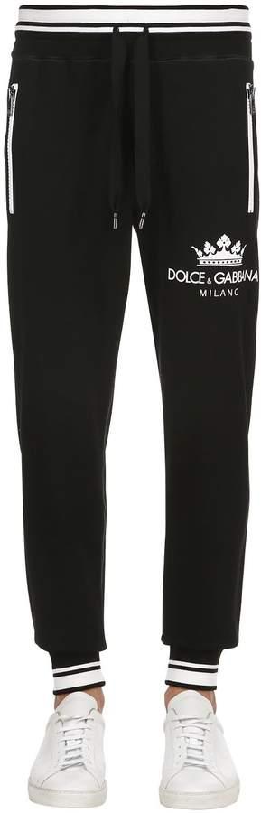 Dolce & Gabbana Crown Print Cotton Jersey Sweatpants
