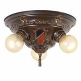 Rejuvenation Interesting Stamped Heraldic 3-Light Ceiling Pan, C1926