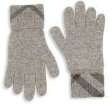 Burberry Kid's Check-Cuff Cashmere Gloves