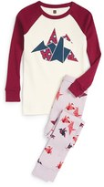 Tea Collection 'Paper Crane' Fitted Two-Piece Pajamas