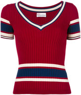 RED Valentino ribbed striped jumper - women - Viscose/Polyimide - S