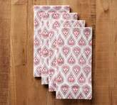 Pottery Barn Block Print Tear Drop Napkin, Set of 4 - White/Pink