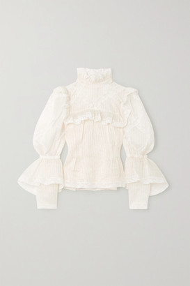 Marc Jacobs Ruffled Lace-trimmed Pintucked Silk-organza Blouse - Ivory