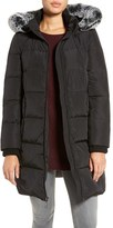 Gallery Hooded Down & Feather Fill Stadium Jacket with Faux Fur Trim (Petite)