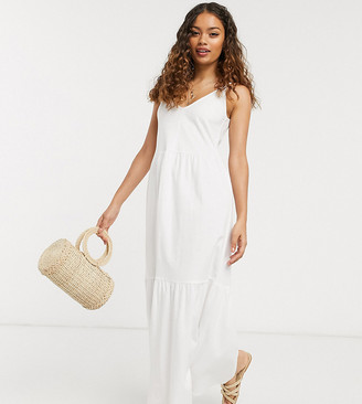 ASOS DESIGN Petite Exclusive strappy tiered maxi dress in white