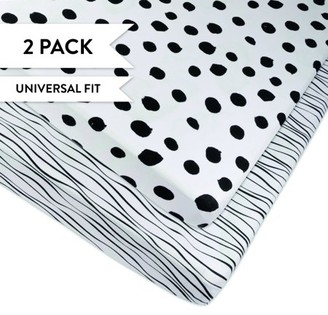 Ely's & Co. Pack N Play Portable Crib Sheet Set 100% Jersey Cotton 2 Pack - Black Abstract Stripes and Dots