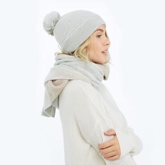 Summersalt The Coziest Cashmere Blend Pom Pom Hat - Wolf & White Sand