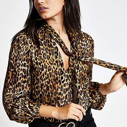 River Island Brown leopard print tie neck blouse