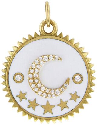 Foundrae Medium White Enamel Crescent Moon Yellow Gold Medallion