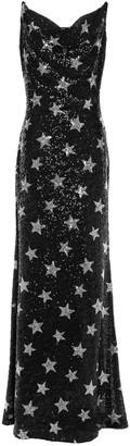 Ainea Velvet-trimmed Sequined Woven Maxi Dress
