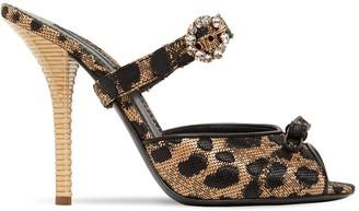 Dolce & Gabbana 105mm Leopard Jacquard Sandals