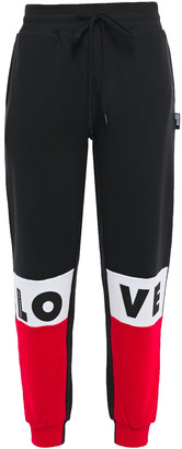 Love Moschino Printed Color-block French Cotton-terry Track Pants