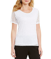 Allison Daley Bubble Crochet Knit Top