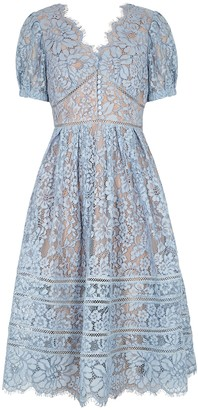 Self-Portrait Blue guipure lace midi dress