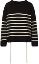 Vince Striped Cashmere Sweater - Black