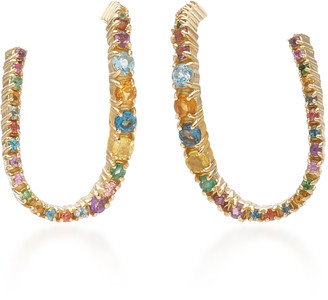 Aron Hirsch Curva 18K Gold and Sapphire Earrings